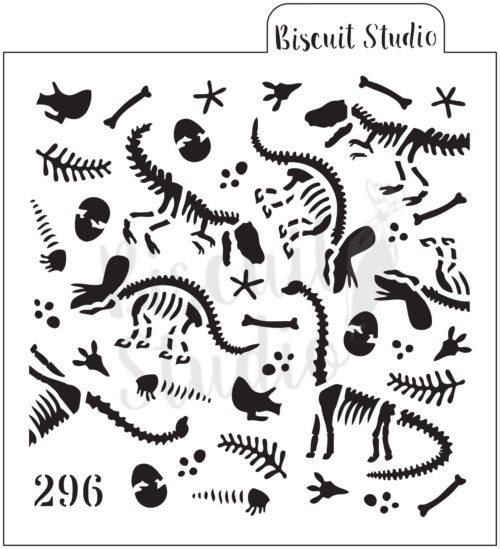 *Dinosaur fossil background cookie stencil