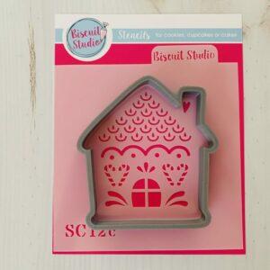 Gingerbread house cutter & 3 stencil designs set