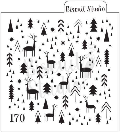 Reindeer & trees background cookie stencil