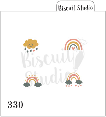 Boho Rainbow x 4 icons set cookie stencil