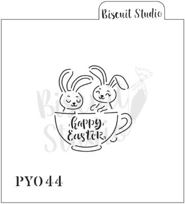 PYO Bunnies in a teacup cookie stencil