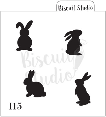 Bunny Silhouettes cookie stencil