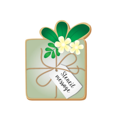 Gift with foliage & tag cookie cutter