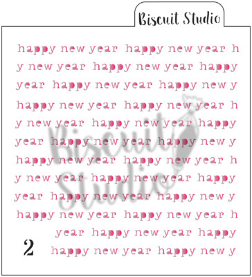Happy New Year background cookie stencil