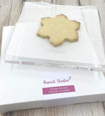 Clear square swivel cookie turntable