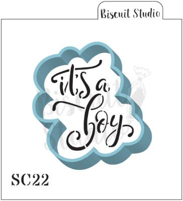 It's a boy cookie stencil/cutter set