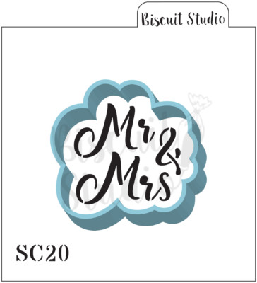 Mr & Mrs cookie stencil/cutter set