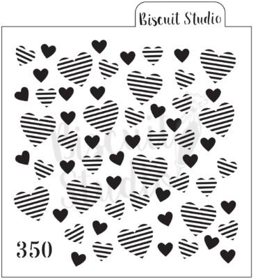 Striped heart background Cookie Stencil