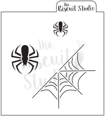 Spiderweb with spiders cookie stencil